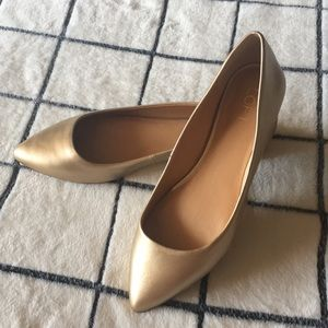 LOFT Gold Almond Toe Flats